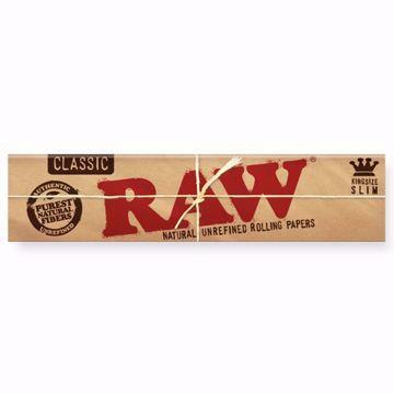 RAW CLASSIC KING SIZE SLIM NATURAL UNREFINED ROLLING PAPERS