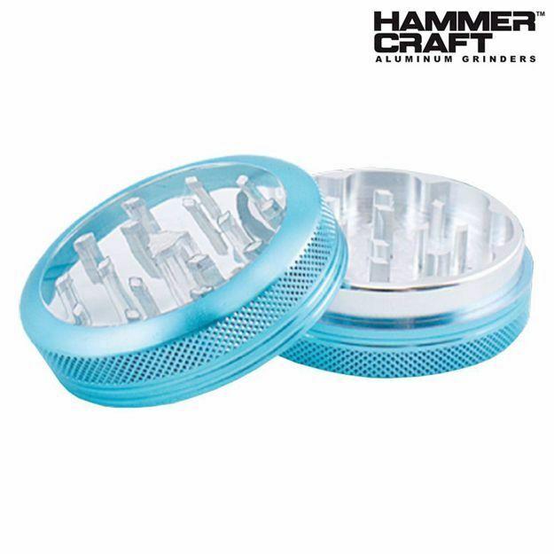 "HAMMERCRAFT ANODIZED BLUE CLEAR TOP ALUMINUM CNC 2.2"" GRINDER"