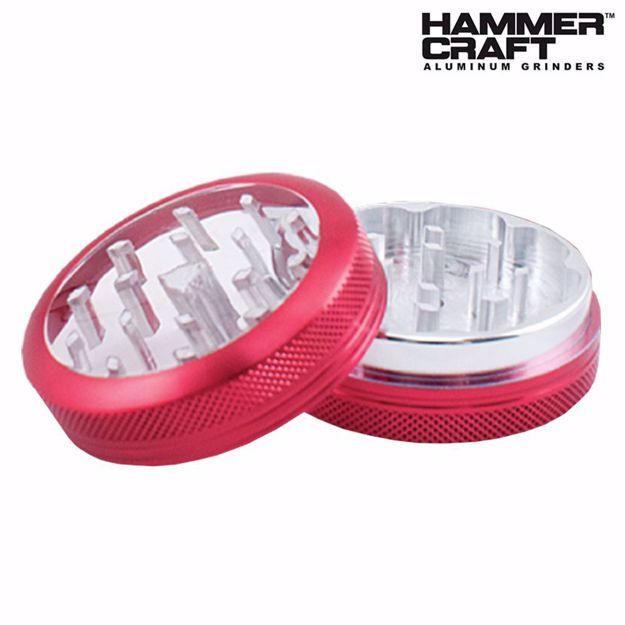 """HAMMERCRAFT ANODIZED RED CLEAR TOP ALUMINUM CNC 2.2"""" GRINDER"""